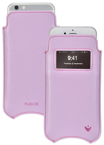iPhone 6/6s Plus Case | Purple Vegan Leather | Smart Window | Screen Cleaning Sanitizing Pouch
