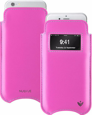 NueVue iPhone case pink leather with window dual