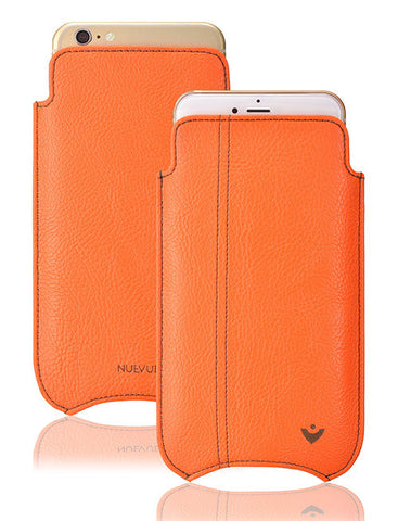 Orange Faux Leather Built-in Screen Cleaning Technology iPhone 7 pouch case.