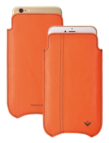Orange Faux Leather Built-in Screen Cleaning Technology iPhone 7 Plus sleeve case.