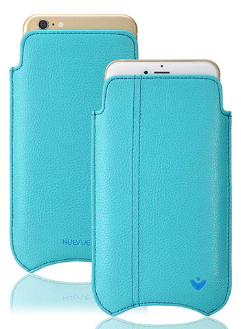Blue Faux Leather 'Built-in Screen Cleaning Technology' iPhone 7 sleeve case.