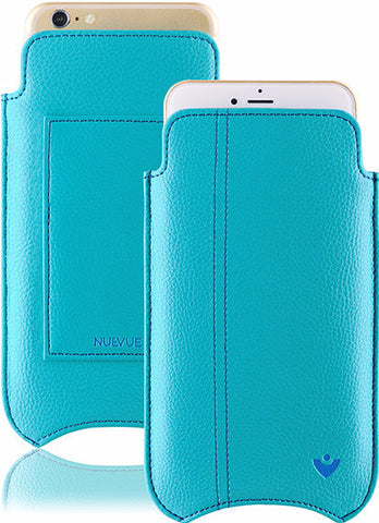 Blue Faux Leather Built-in Screen Cleaning Technology iPhone 7 Plus sleeve wallet case.
