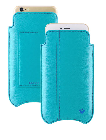 NueVue iPhone 6 Plus Case Blue Vegan leather self cleaning case wallet dual