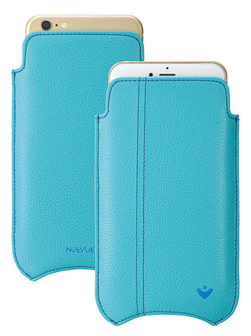 Blue Faux Leather Built-in Screen Cleaning Technology iPhone 7 Plus sleeve case.