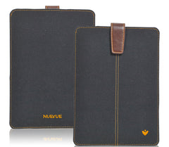 iPad Sleeve Case in Black Cotton Twill | Screen Cleaning bacteria killing lining.
