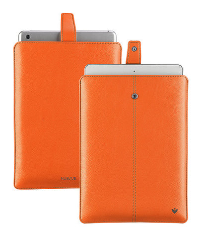NueVue iPad case orange vegan leather with self cleaning interior