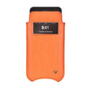 Orange Faux Leather Built-in Screen Cleaning Technology iPhone 7 Plus pouch case.