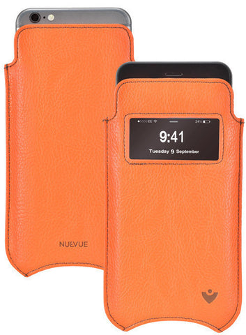 Apple iPhone 6/6s Plus pouch case Flame Orange Vegan Leather 'Screen Cleaning' sleeve  smart window