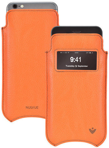 iPhone 8 Plus / 7 Plus Window Case in Orange Faux Leather | Screen Cleaning and Sanitizing Lining.