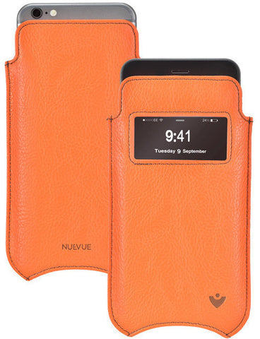 iPhone SE-2 Pouch Case in Orange Faux Leather | Screen Cleaning and Sanitizing Lining | Smart Window