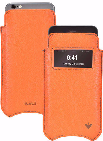 iPhone 6/6s Sleeve Case in Orange Vegan Leather | Smart Window | Screen Cleaning Sanitizing Lining