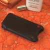 Black Leather 'Screen Cleaning' iPhone SE, 5 sleeve case, with antimicrobial lining and wallet