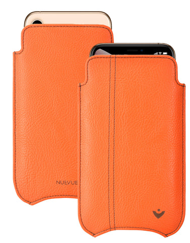 NueVue iPhone 11 and iPhone XR Case Faux Leather | Flame Orange | Sanitizing Screen Cleaning Case