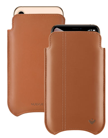 NueVue iPhone 11 Pro Max and iPhone Xs Max Case Napa Leather | Tan | Sanitizing Screen Cleaning Case