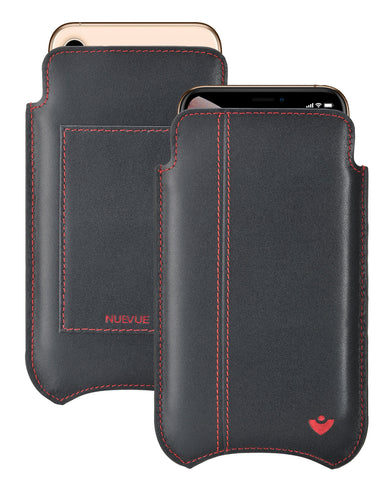 NueVue iPhone 11 Pro Max and iPhone Xs Max Wallet Case Napa Leather | Black/Red | Sanitizing Screen Cleaning Case