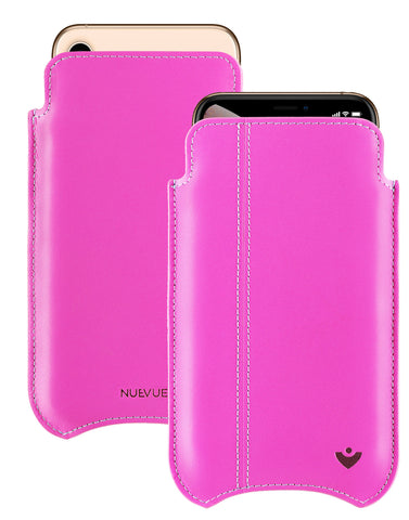 NueVue iPhone XR Case Napa Leather | Hot Pink | Screen Cleaning Sanitizing Case