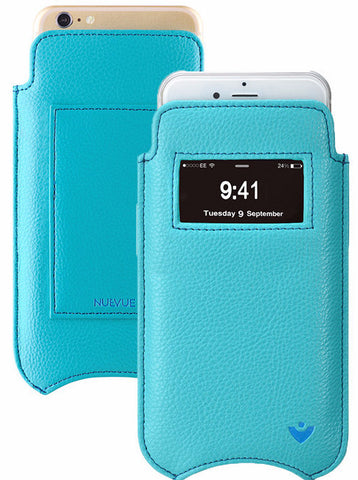 iPhone 6/6s Sleeve Window Wallet Case Blue Vegan Leather | Screen Cleaning Sanitizing Cover