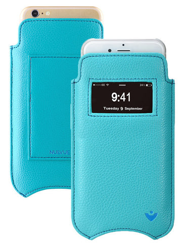 Apple iPhone 6/6s Plus wallet window case Blue Vegan Leather Screen Cleaning, bacteria killing pouch