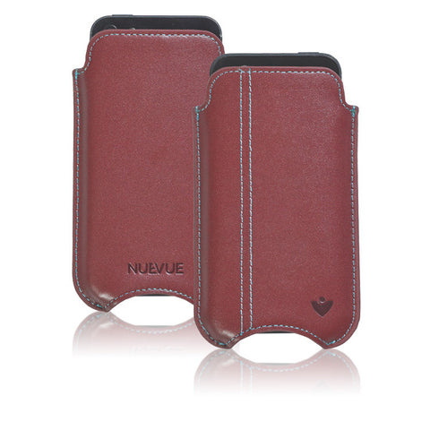 Burgundy Leather 'Screen Cleaning' cover for Apple iPhone SE, 5 sleeve cover case with protective antimicrobial lining