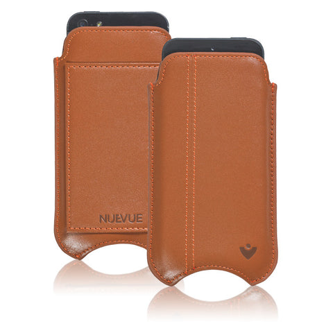 "Tan Napa Leather ""Screen Cleaning"" cover for Apple iPhone SE, 5 pouch case with protective antimicrobial lining and wallet"