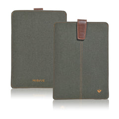 iPad mini Sleeve Case in Green Cotton Twill | Screen Cleaning Sanitizing Lining