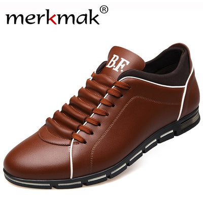 Merkmak Big Size 38-48 Men Casual Shoes Fashion Leather Shoes for Men Summer Men's Flat Shoes Dropshipping