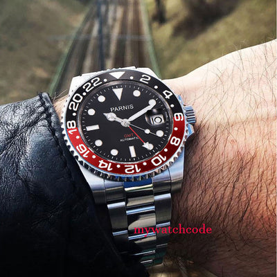 Parnis Mechanical Watches Black Red Ceramic Bezel black dial GMT luminous marks sapphire glass automatic