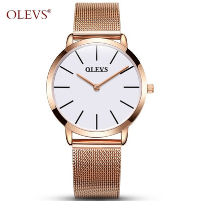 Ultra thin Ladies Watch Brand Luxury Women Watches Waterproof Rose Gold Stainless Steel Quartz Calendar