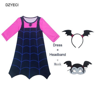 Disfraz Vampirina Costume For Girl Dress Halloween Child Mask Headband Boutique Up Frock Kid Elza Vetement Enfant Fille disguise