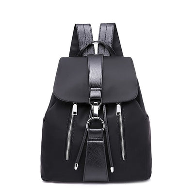 New 2018 Nylon Women Backpack Female Fashion Travel waterproof Patchwork Leather Bag Black School Backpacks Teenager For Girls