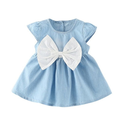 Girls Dress 2018 Summer Explosion Solid Color Denim Dress Cartoon Polka Dot Bow Cartoon Bunny Satchel Korean Baby Cute Dress