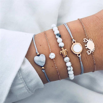 IPARAM Bohemian Handmade Weave Heart Long Tassel Bracelet Sets Women 2018 New Grey Rope Chain Bracelets Jewelry Christmas Gift