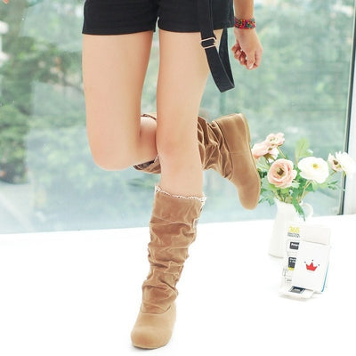 New fashion Women Boots spring Winter black and Brown Boots fashion shoes flats quality suede long Boots women shoes