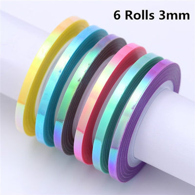 4 Pcs Nail Striping Tape Lines Set Rose Gold Matte Glitter 1mm 2mm 3mm Adhesive Stickers Nail Art DIY Styling Tool