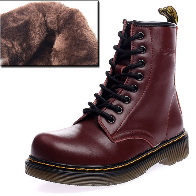 half off buy cheap elegant shoes QUANZIXUAN Genuine Leather Women Boots Dr Martin Boots Winter Work Safeti  Boots Solid Ankle Boots Female Punk Women Shoe Size 46