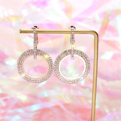 Creative jewelry high-grade elegant crystal round Gold and silver earrings