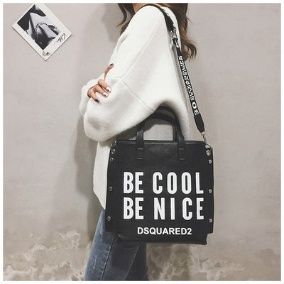 Fashion Handbag Women Letter Soft Messenger Female Shoulder Bags Large Shopping Tote Lady Crossbody Bag Purse