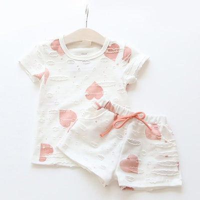 Baby Girls Clothes Sets 2019 Summer Heart Printed Girl Short Sleeve Tops Shirts + Shorts Casual Kids Children's Clothing Suit