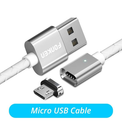 FONKEN Micro USB Cable Magnetic Cable 3A Fast Charge 1m 2m Android Mobile Quick Charging Magnet Cord Dust Plug Phone Data Cord