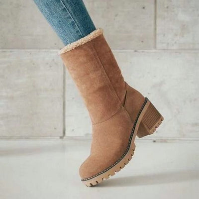 Winter Plush Warm Women Boots 2019 Women Square Heel Ankle Snow Boots Ladies Platform Artificial Fur Female Casual Shoes