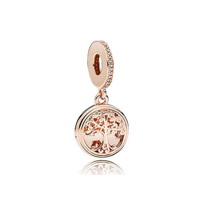 New Original Free Shipping 925 Sliver Bead Rose Gold Enamal Pendant Dangle Charm Fit Pandora Bracelet Necklace DIY Women Jewelry