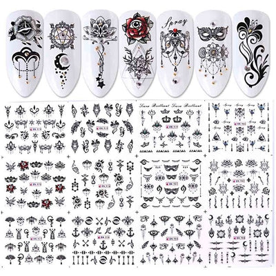 12 Designs Water Decals Slider Summer Jungle Flamingo Parrot Flora Watermark Nail Sticker Decoration Wraps Manicure BEBN865-876