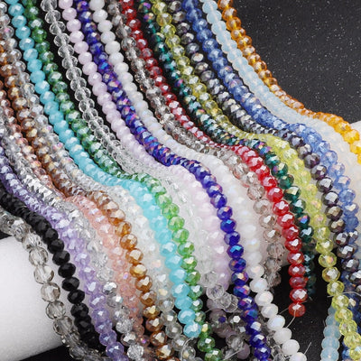 145Pcs/Lot Mix 23Colors Rondelle Faceted Beads 4mm Glass Czech Crystal Beads For Jewelry Making Loose Spacer Beads Wholesale