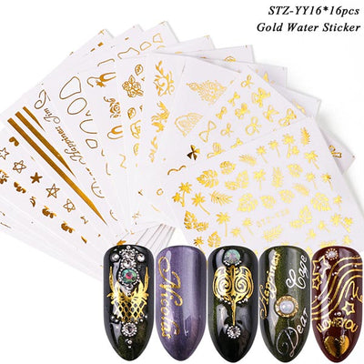 1 Set Mixed Design New Nail Art Sticker Set Black Lace Gold Silver Glitter Flower Water Decal Slider Wraps Decor Manicure CH830