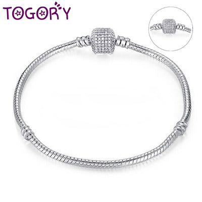 TOGORY Dropshipping Authentic Silver Plated Snake Chain DIY Charm Bracelet & Bangle DIY Fine Bracelet Jewelry for Women Gift