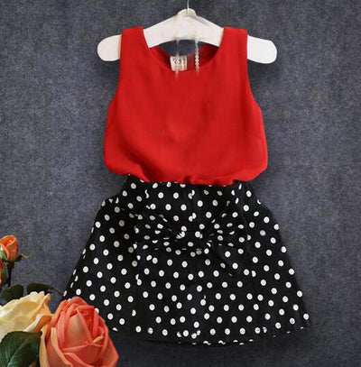 2pcs Outfit Set Children Girl Clothing Set Bow knot Sleeveless Vest+Dots Skirts For 2-11 Year Girl,J514