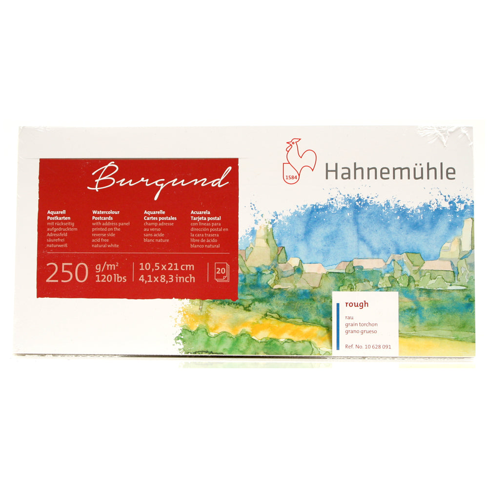 Hahnemühle Burgund Rough watercolour postcards 10 x 21cm 20 Sheets