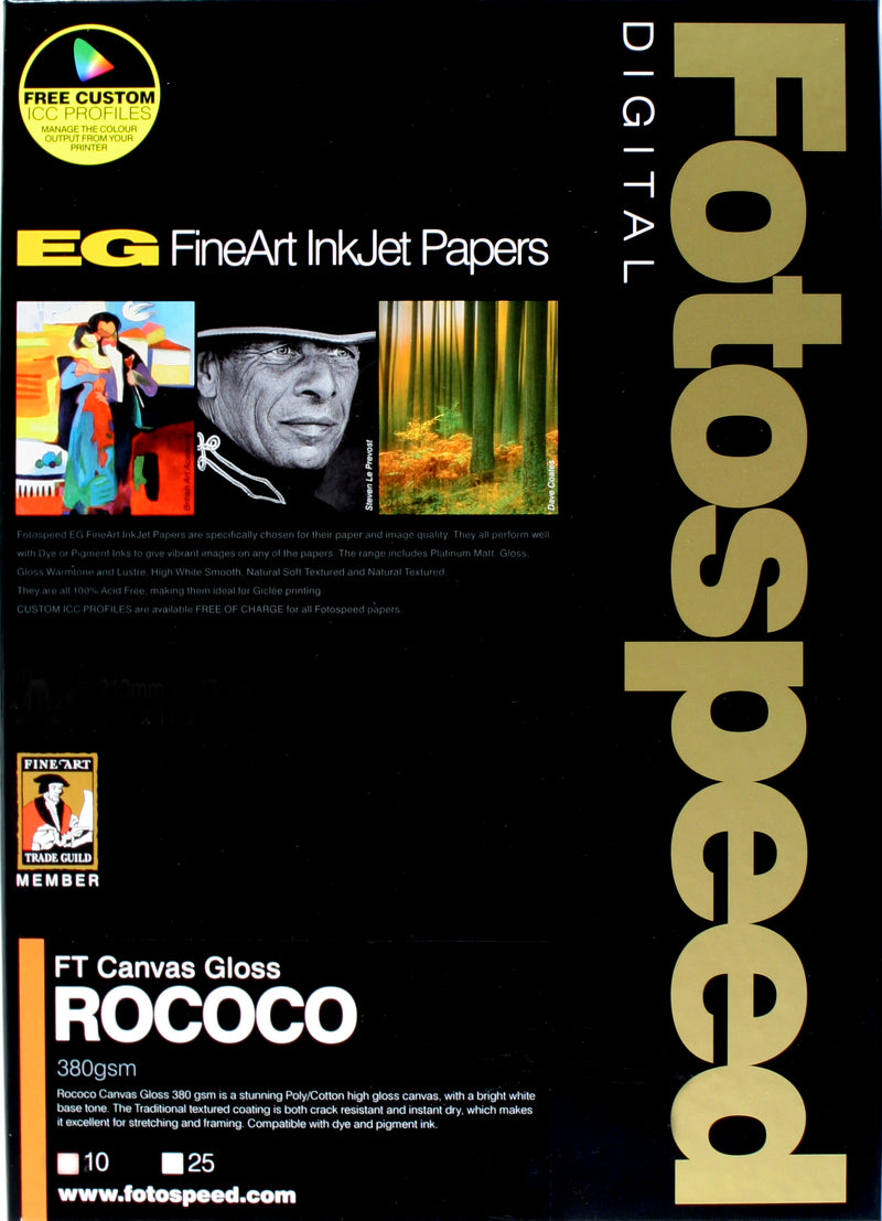 Fotospeed FT Canvas Rococo Gloss 380gsm A4 10 Sheets