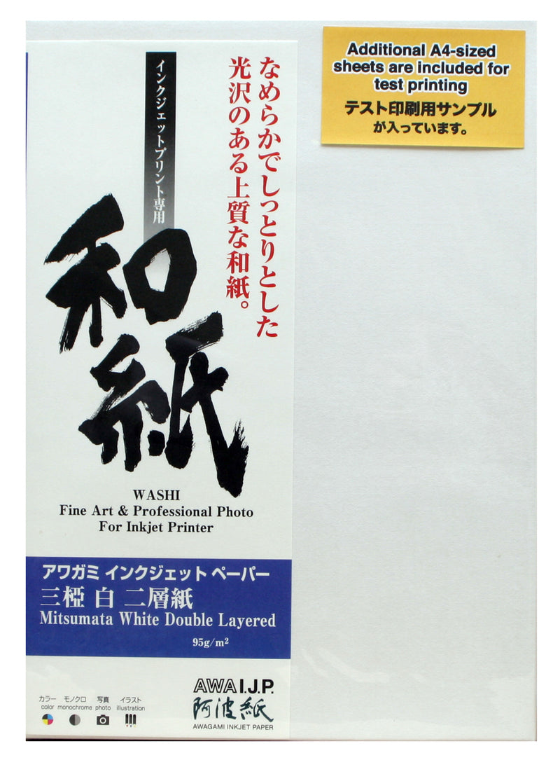 Awagami Mitsumata White Double Layered 95gsm