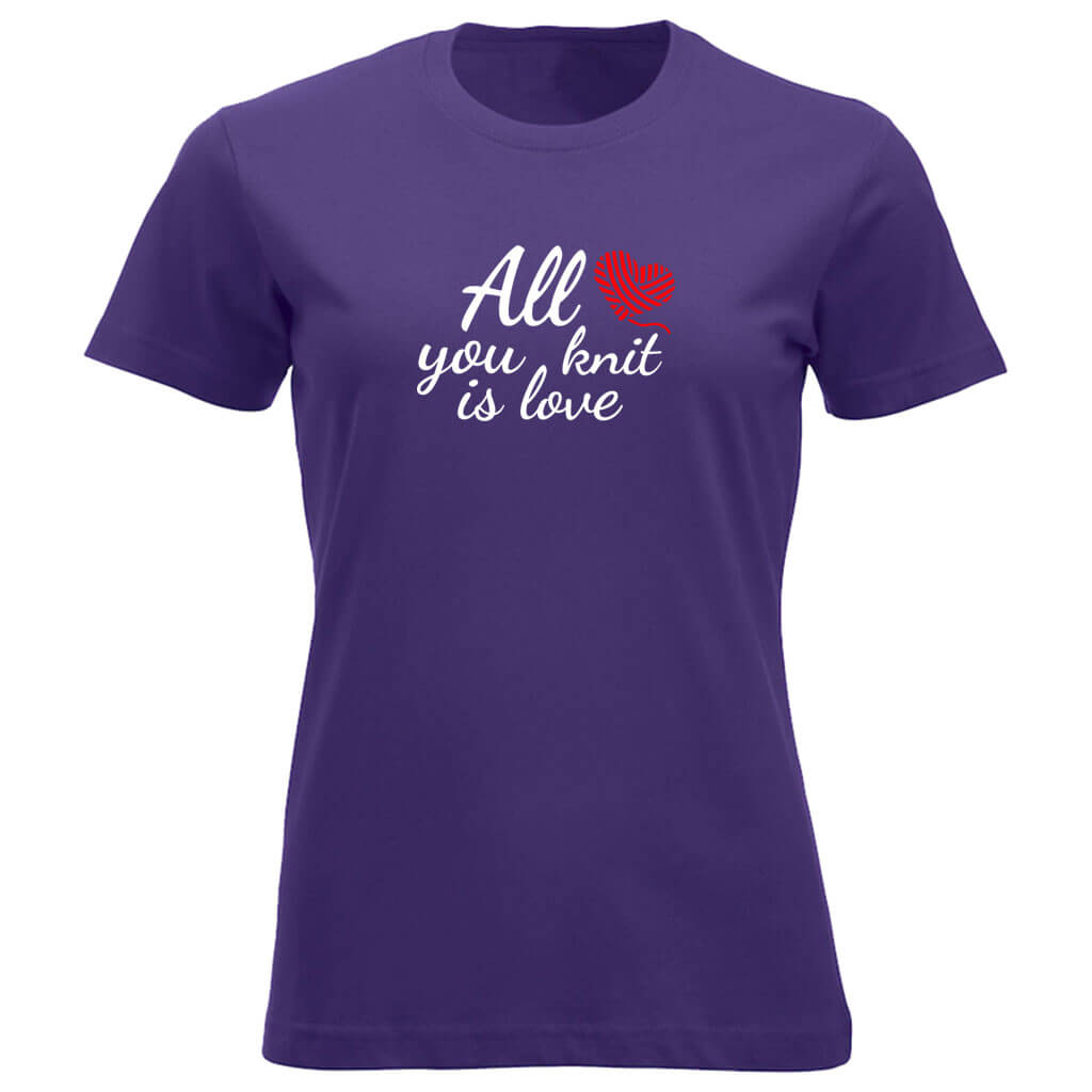 All you knit is love klassisk t-skjorte dame lilla